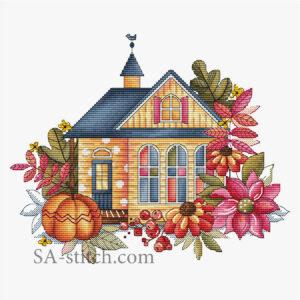 """Схема для вышивки """"Осенний домик"""""""