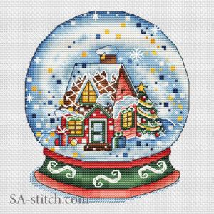 """Схема для вышивки крестом """"Снежный шар новогодний"""""""