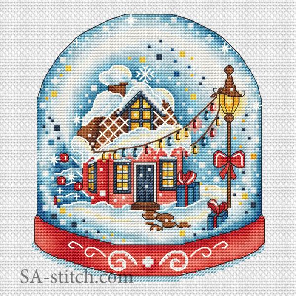 """Схема для вышивки """"Снежный шар красный"""""""