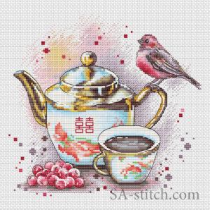 """Схема для вышики """"Чай с калиной"""""""