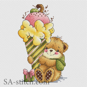"""Схема для вышивки """"Мишка с десертом"""""""
