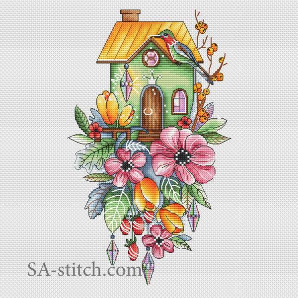 Домик с тюльпанами