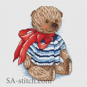 """Схема для вышивки """"Тедди с красным бантом"""""""