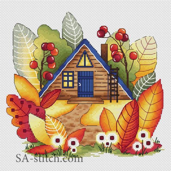 """Схема для вышивки """"Волшебный осенний домик"""""""