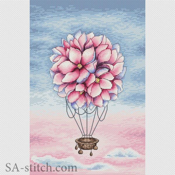 Цветочный воздушный шар с фоном