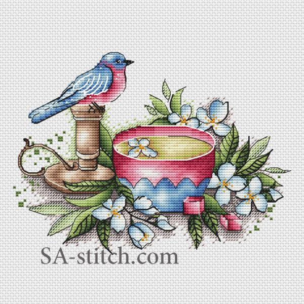 Чашечка с птичкой