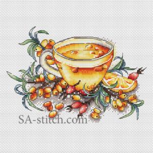 """Схема для вышивки крестом """"Облепиховый чай"""""""