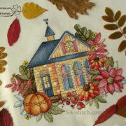 """Вышитая работа """"Осенний домик"""""""