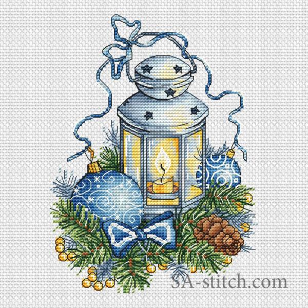 """Схема для вышивки """"Синий фонарь"""""""