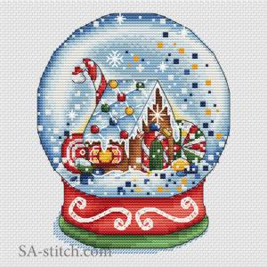 """Схема для вышивки крестом """"Снежный шар пряничный"""""""
