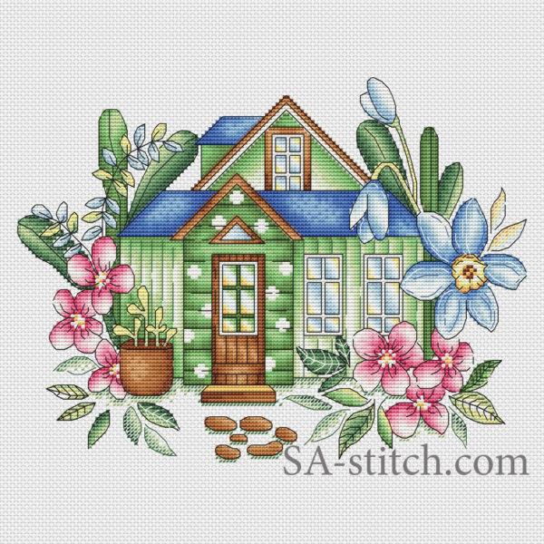 """Схема для вышивки крестом """"Весенний домик"""""""