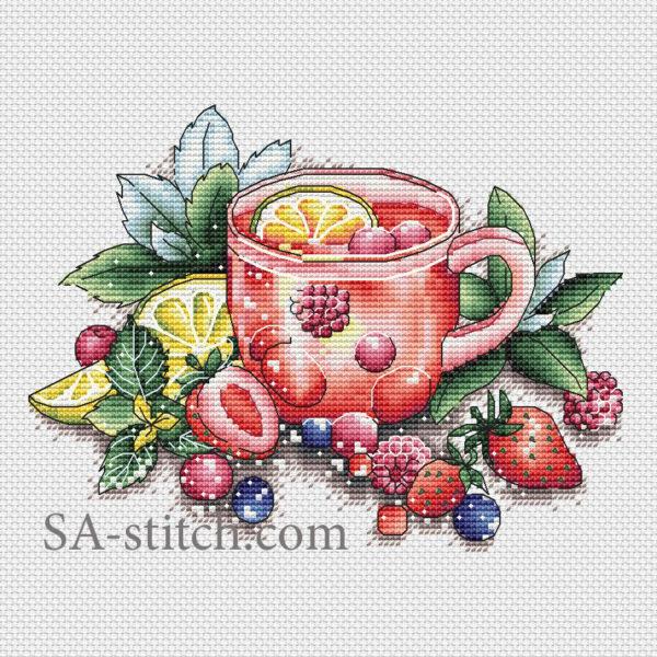 """Схема для вышивки крестом """"Ягодный чай"""""""