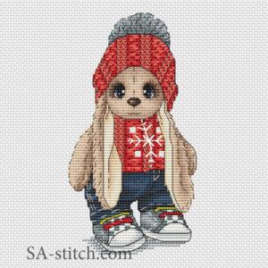 """Схема для вышивки крестом """"Зайка в свитере"""""""