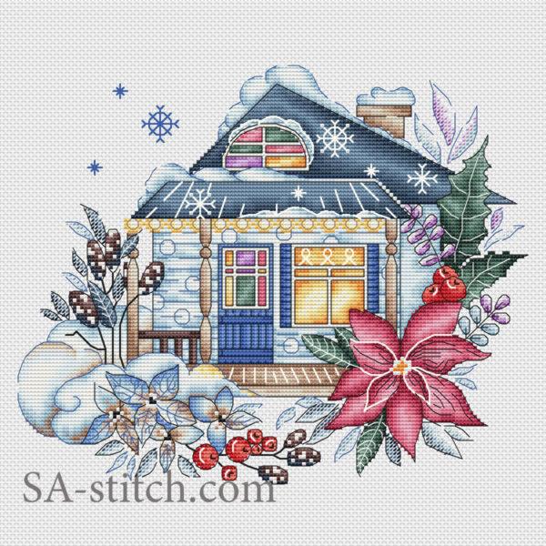 """Схема для вышивки крестом """"Зимний домик"""""""