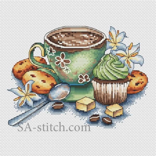"""Схема для вышивки """"Чашечка с кофе"""""""