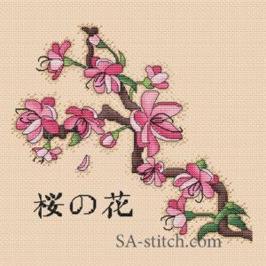 Схема для вышивки цветы сакуры