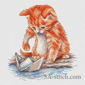 """Схема для вышивки """"Котенок с корабликом"""""""