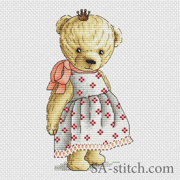 """Схема для вышивки """"Тедди с короной"""""""