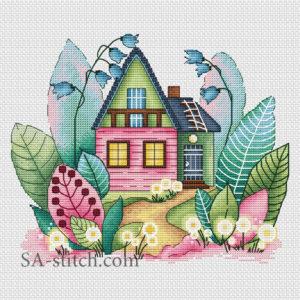 """Схема для вышивки """"Волшебный весенний домик"""""""