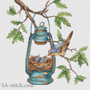 Птичка с гнездом