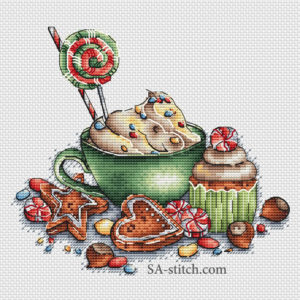 Чашечка с цыетными конфетками