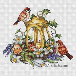 Фонарь весенний с воробушками1