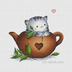 Кот_Пирожок_зеленый_чай