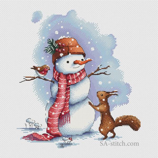 Снеговик и белочка